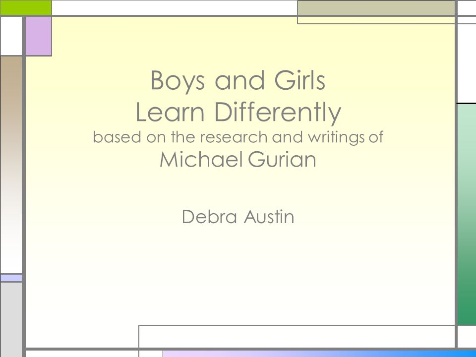 Academic Performance Girls study harder than boys Girls choose harder courses in middle and high school at a higher rate than boys Girls get 60% of the As and boys get 70% of the Ds and Fs 62% of the top 1/5 of high school performers are girls