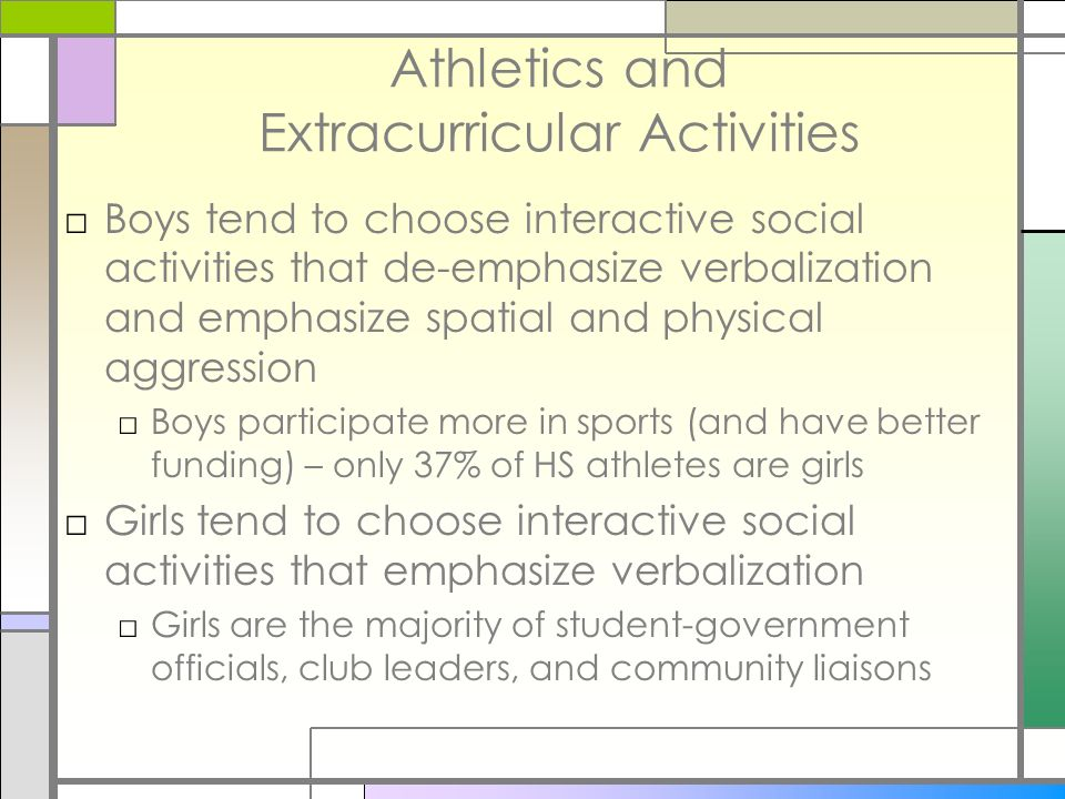 Athletics and Extracurricular Activities Boys tend to choose interactive social activities that de-emphasize verbalization and emphasize spatial and p