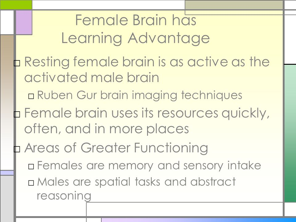 Female Brain has Learning Advantage Resting female brain is as active as the activated male brain Ruben Gur brain imaging techniques Female brain uses