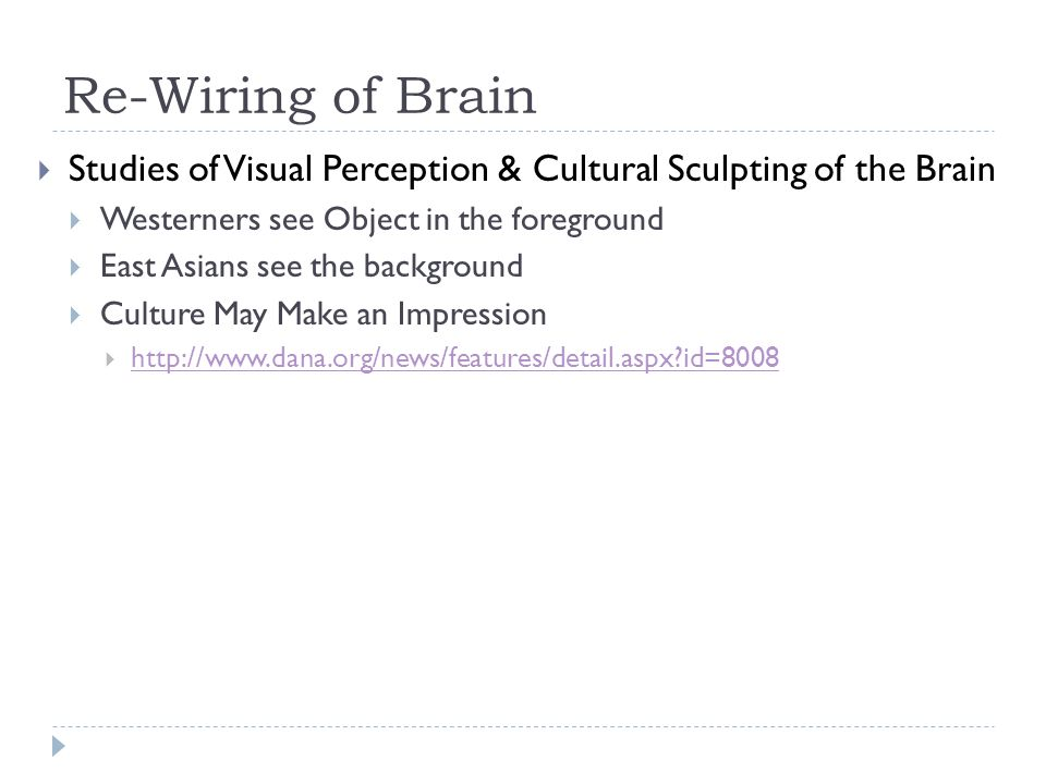 Re-Wiring of Brain Studies of Visual Perception & Cultural Sculpting of the Brain Westerners see Object in the foreground East Asians see the background Culture May Make an Impression http://www.dana.org/news/features/detail.aspx id=8008