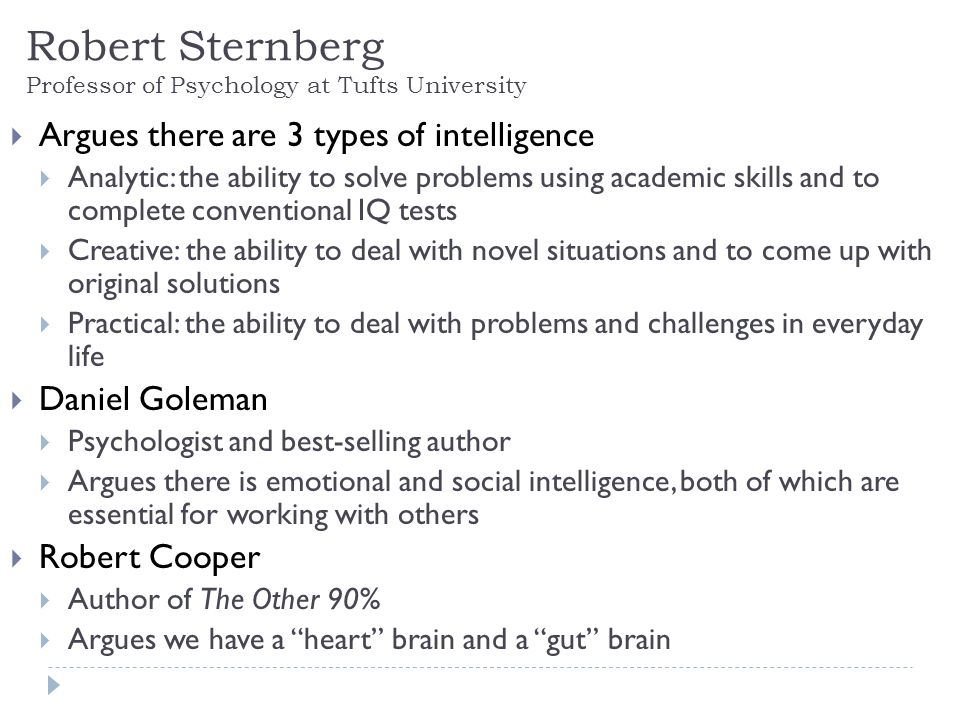 Robert Sternberg Professor of Psychology at Tufts University Argues there are 3 types of intelligence Analytic: the ability to solve problems using academic skills and to complete conventional IQ tests Creative: the ability to deal with novel situations and to come up with original solutions Practical: the ability to deal with problems and challenges in everyday life Daniel Goleman Psychologist and best-selling author Argues there is emotional and social intelligence, both of which are essential for working with others Robert Cooper Author of The Other 90% Argues we have a heart brain and a gut brain