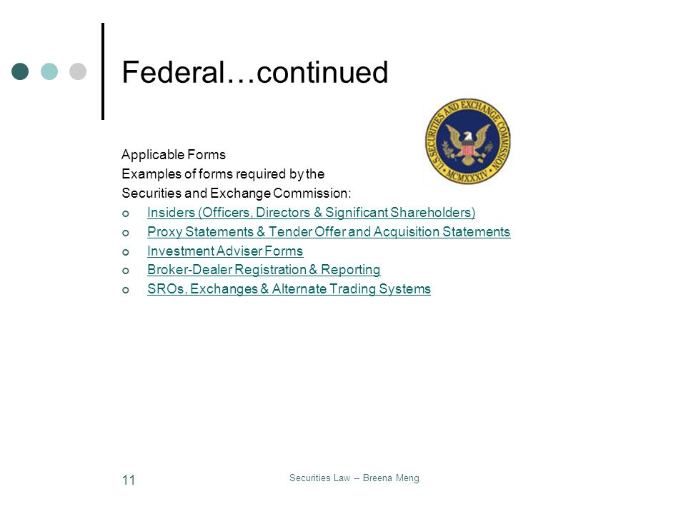 Securities Law -- Breena Meng 11 Federal…continued Applicable Forms Examples of forms required by the Securities and Exchange Commission: Insiders (Of