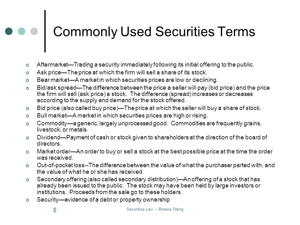 Securities Law -- Breena Meng 5 Commonly Used Securities Terms AftermarketTrading a security immediately following its initial offering to the public.