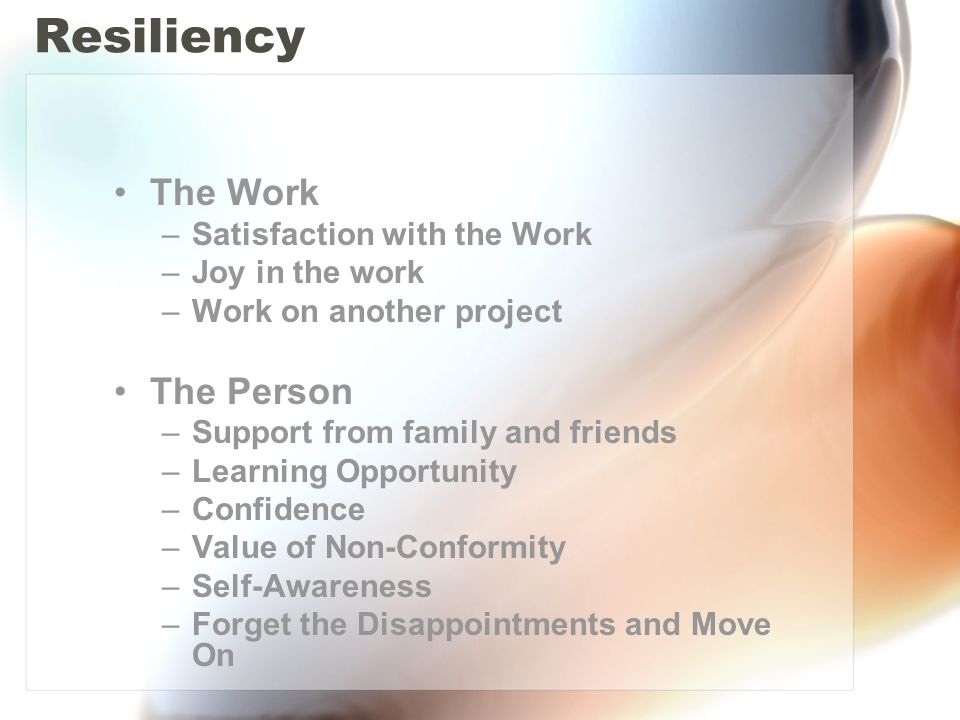 Resiliency The Work –Satisfaction with the Work –Joy in the work –Work on another project The Person –Support from family and friends –Learning Opportunity –Confidence –Value of Non-Conformity –Self-Awareness –Forget the Disappointments and Move On