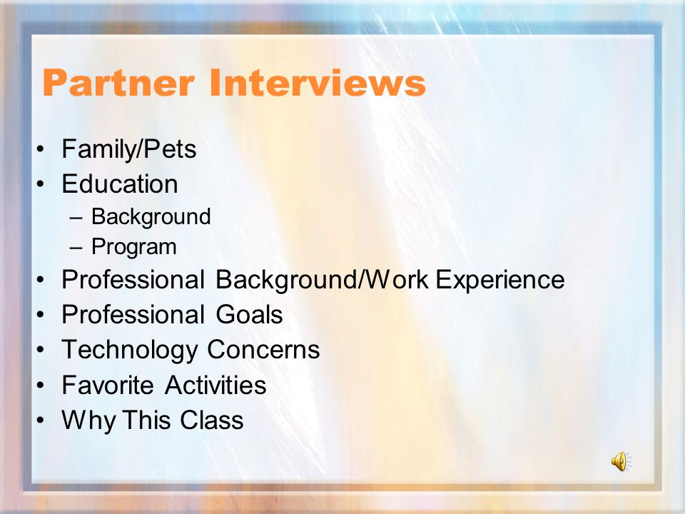 Partner Interviews Family/Pets Education –Background –Program Professional Background/Work Experience Professional Goals Technology Concerns Favorite Activities Why This Class