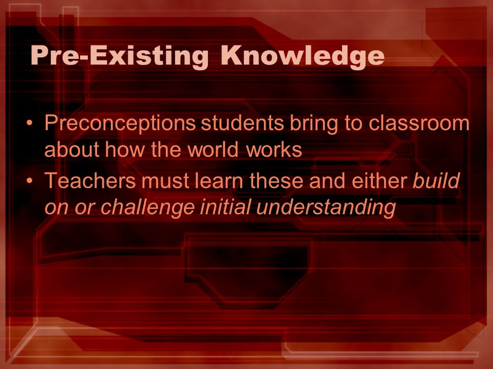 Pre-Existing Knowledge Preconceptions students bring to classroom about how the world works Teachers must learn these and either build on or challenge initial understanding