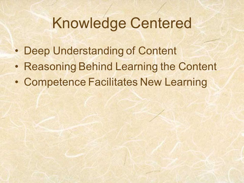 Knowledge Centered Deep Understanding of Content Reasoning Behind Learning the Content Competence Facilitates New Learning