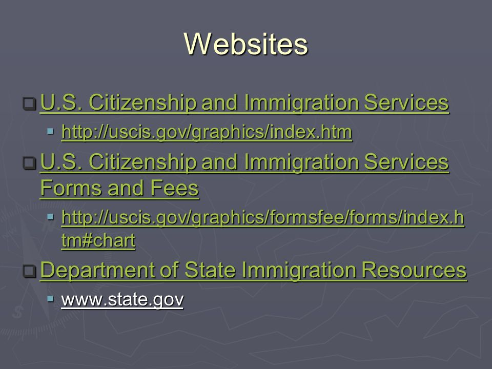 Websites U.S. Citizenship and Immigration Services U.S.