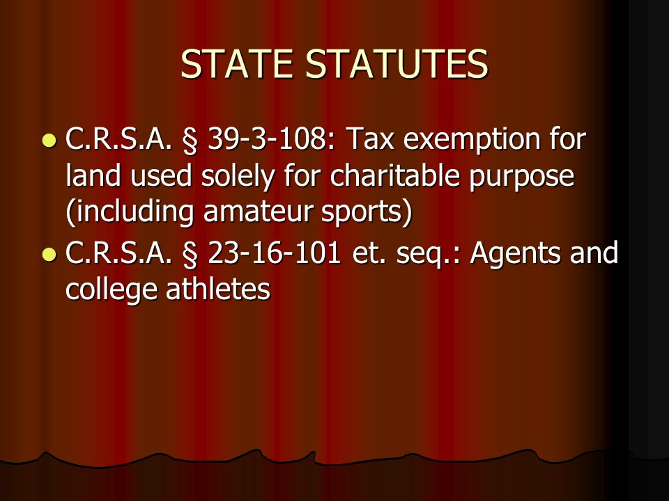 STATE STATUTES C.R.S.A.