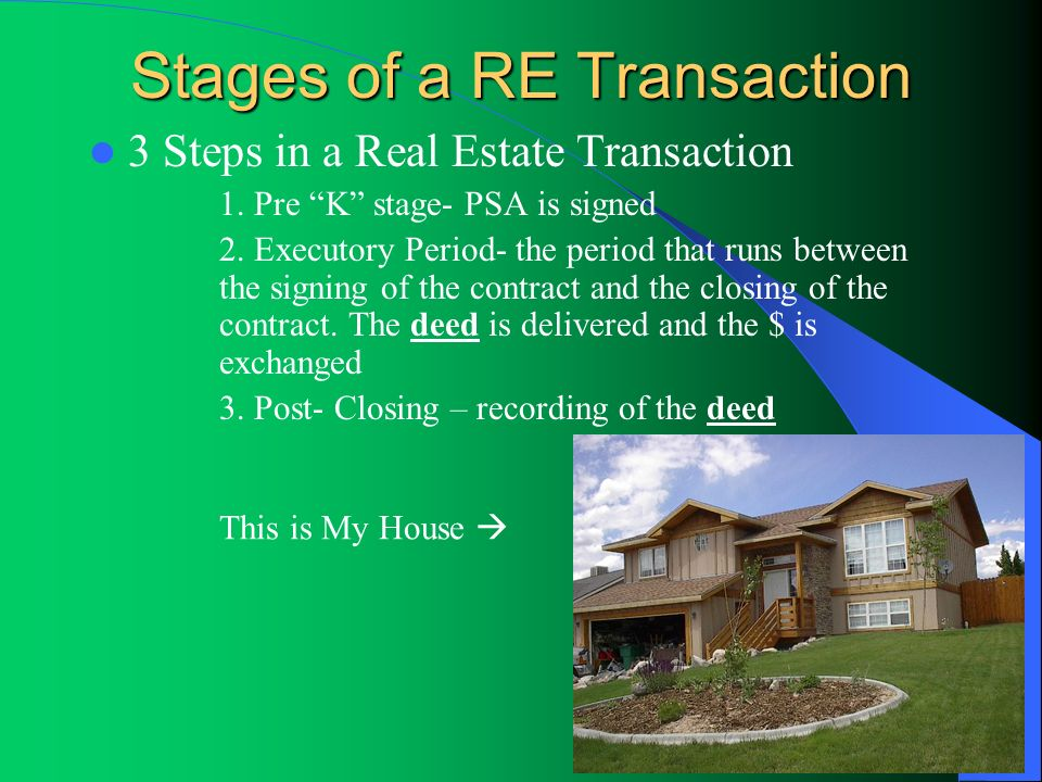 Stages of a RE Transaction 3 Steps in a Real Estate Transaction 1. Pre K stage- PSA is signed 2. Executory Period- the period that runs between the si