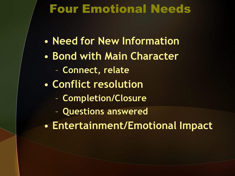 Four Emotional Needs Need for New Information Bond with Main Character –Connect, relate Conflict resolution –Completion/Closure –Questions answered En