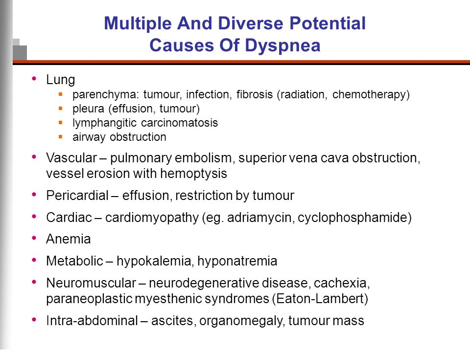 Multiple And Diverse Potential Causes Of Dyspnea Lung parenchyma: tumour, infection, fibrosis (radiation, chemotherapy) pleura (effusion, tumour) lymp