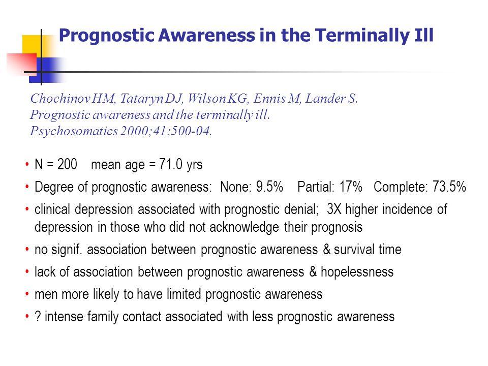 Prognostic Awareness in the Terminally Ill Chochinov HM, Tataryn DJ, Wilson KG, Ennis M, Lander S. Prognostic awareness and the terminally ill. Psycho