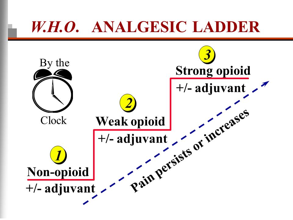 +/- adjuvant Non-opioid Weak opioid Strong opioid Pain persists or increases By the Clock W.H.O. ANALGESIC LADDER +/- adjuvant 1 2 3