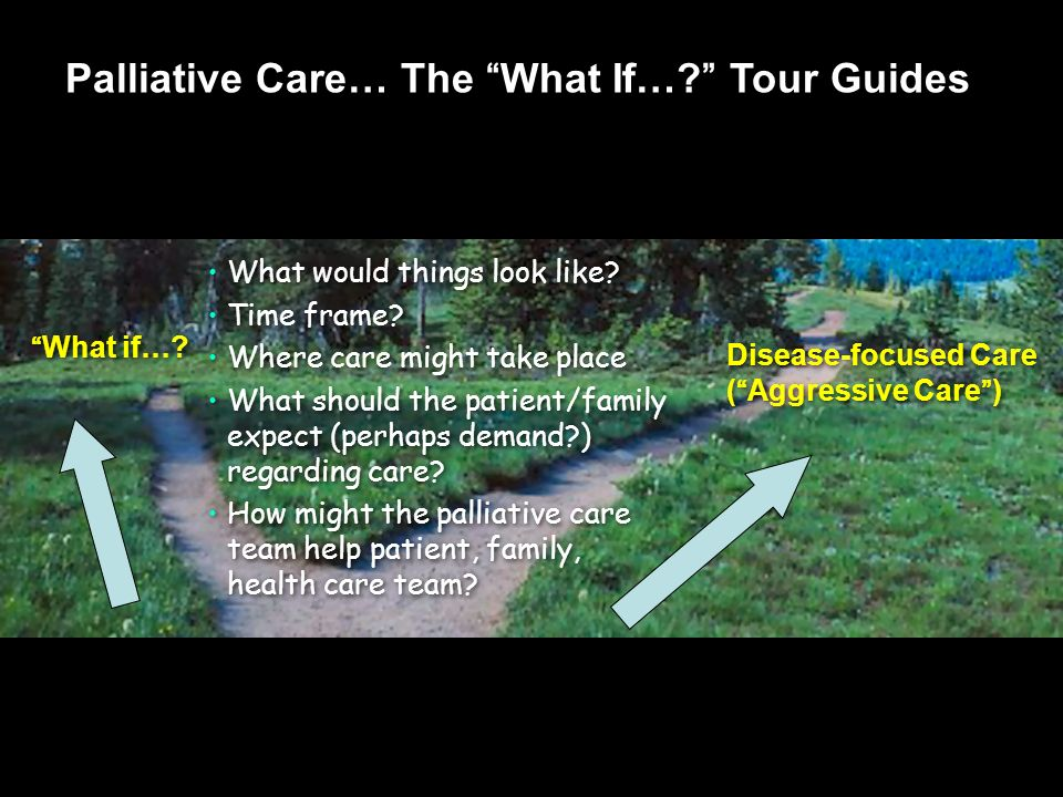 What if…? What would things look like? Time frame? Where care might take place What should the patient/family expect (perhaps demand?) regarding care?