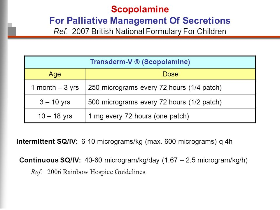 Scopolamine For Palliative Management Of Secretions Transderm-V ® (Scopolamine) AgeDose 1 month – 3 yrs250 micrograms every 72 hours (1/4 patch) 3 – 10 yrs500 micrograms every 72 hours (1/2 patch) 10 – 18 yrs1 mg every 72 hours (one patch) Ref: 2007 British National Formulary For Children Intermittent SQ/IV: 6-10 micrograms/kg (max.