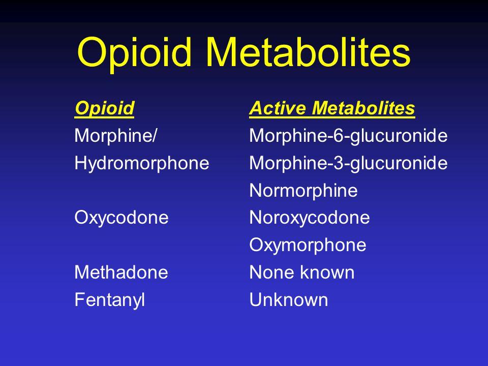 Opioid Metabolites Opioid Morphine/ Hydromorphone Oxycodone Methadone Fentanyl Active Metabolites Morphine-6-glucuronide Morphine-3-glucuronide Normor