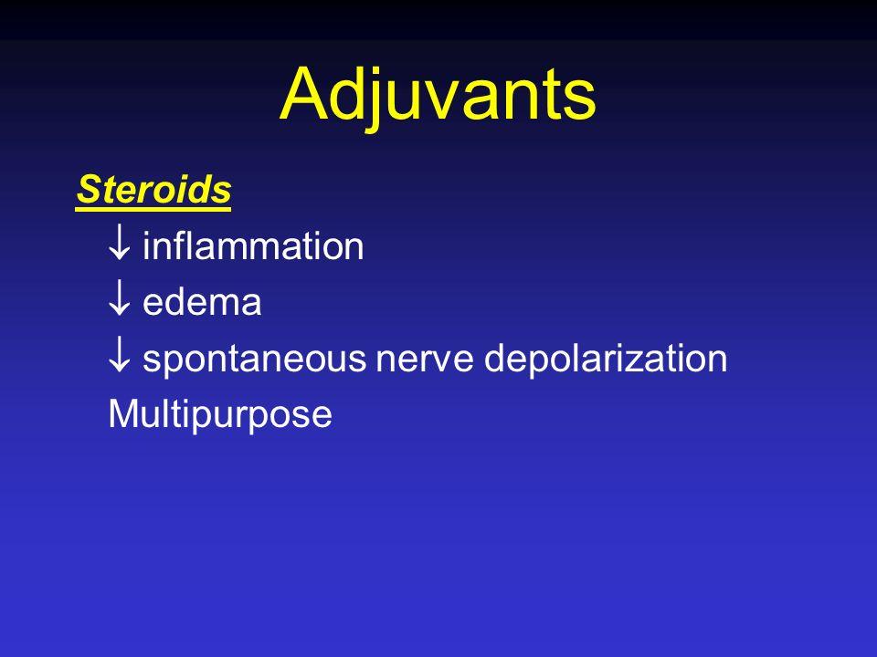 Adjuvants Steroids inflammation edema spontaneous nerve depolarization Multipurpose
