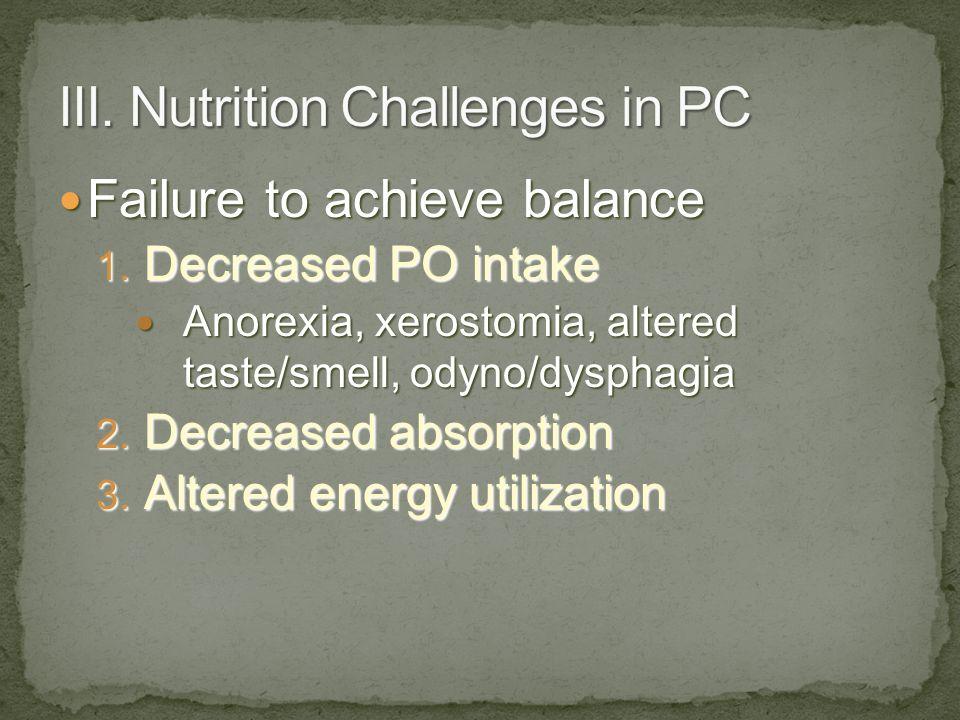 Failure to achieve balance Failure to achieve balance 1. Decreased PO intake Anorexia, xerostomia, altered taste/smell, odyno/dysphagia Anorexia, xero