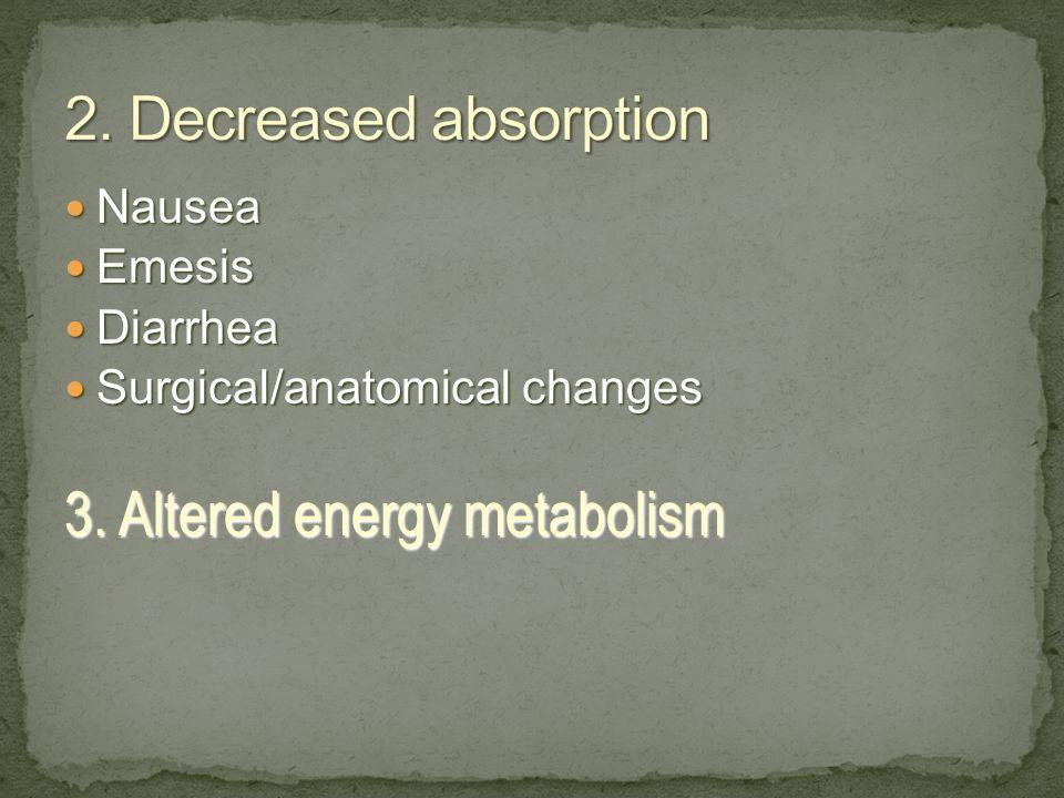 Nausea Nausea Emesis Emesis Diarrhea Diarrhea Surgical/anatomical changes Surgical/anatomical changes 3. Altered energy metabolism