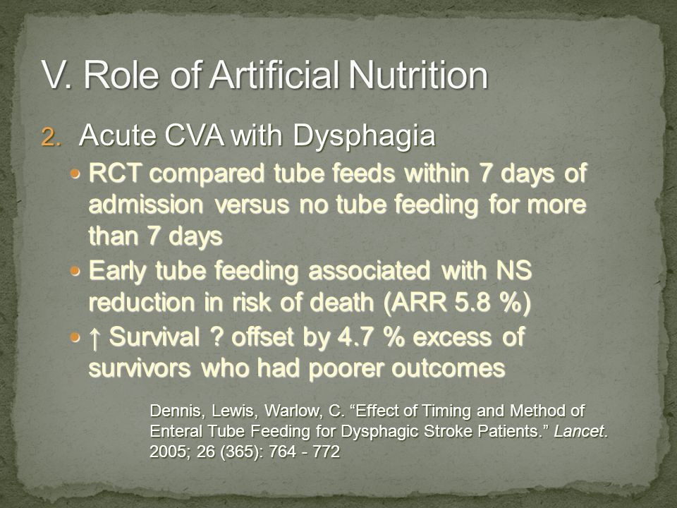 2. Acute CVA with Dysphagia RCT compared tube feeds within 7 days of admission versus no tube feeding for more than 7 days RCT compared tube feeds wit