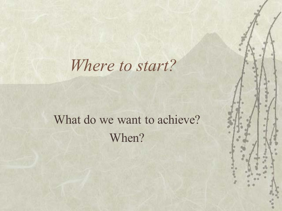 Where to start? What do we want to achieve? When?