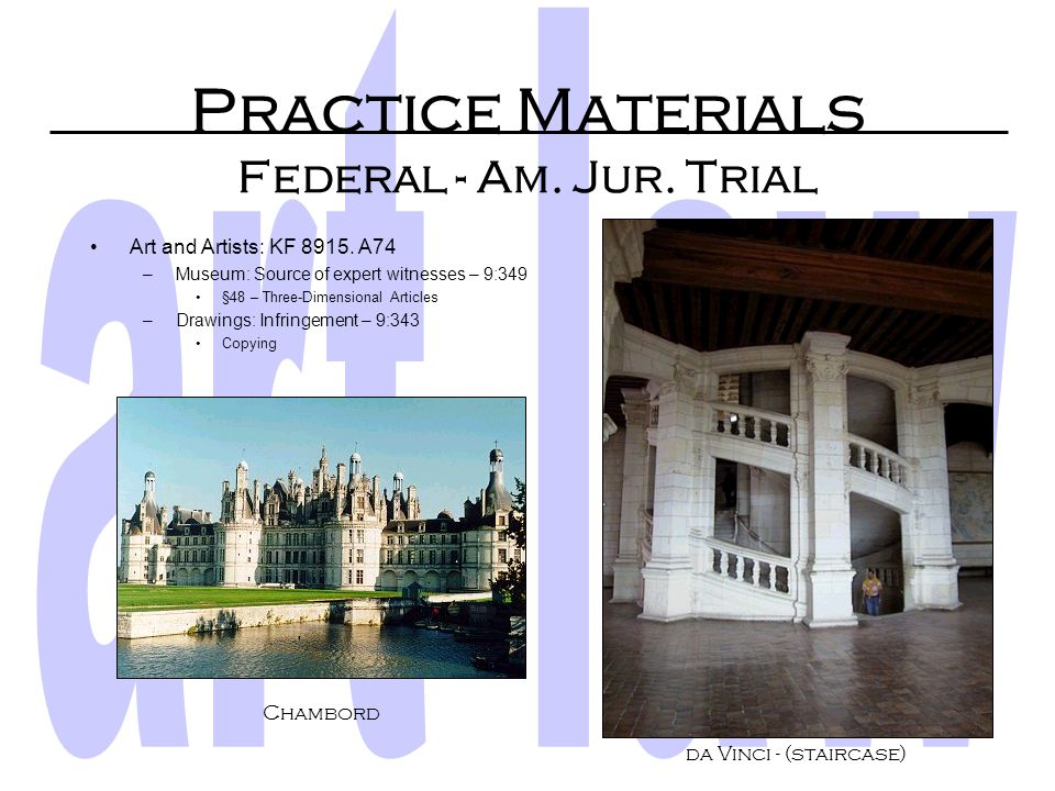 Practice Materials Looseleaf Services Legal Looseleafs In Print 2002 –Art, Artifacts and Architecture (West Group) Non available at DU –The Deskbook o