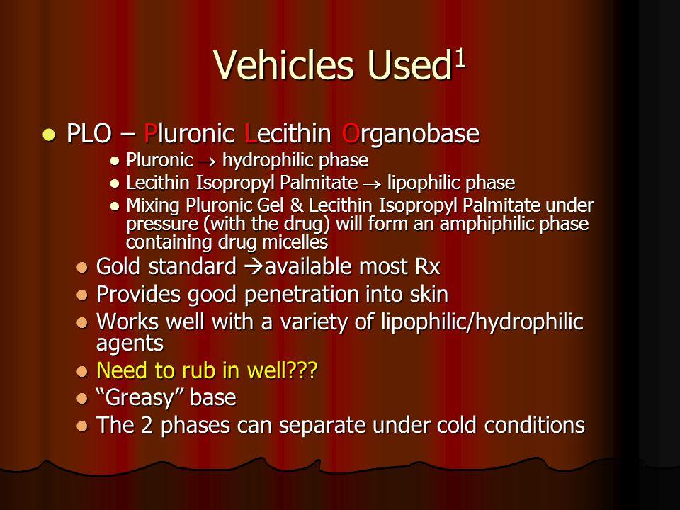 Vehicles Used 1 PLO – Pluronic Lecithin Organobase PLO – Pluronic Lecithin Organobase Pluronic hydrophilic phase Pluronic hydrophilic phase Lecithin I