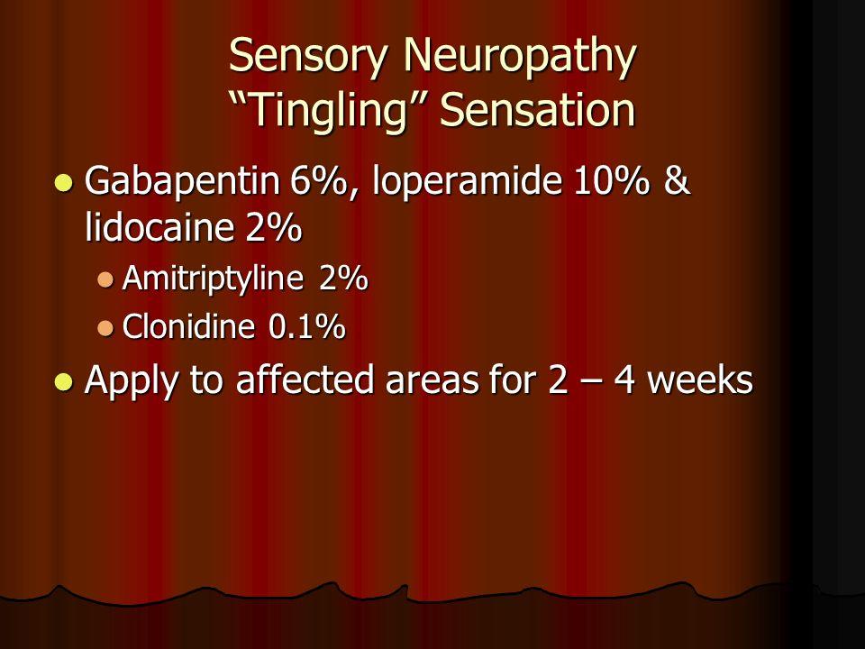 Sensory Neuropathy Tingling Sensation Gabapentin 6%, loperamide 10% & lidocaine 2% Gabapentin 6%, loperamide 10% & lidocaine 2% Amitriptyline 2% Amitr