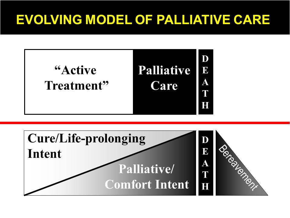 Cure/Life-prolonging Intent Palliative/ Comfort Intent Bereavement DEATHDEATH Active Treatment Palliative Care DEATHDEATH EVOLVING MODEL OF PALLIATIVE