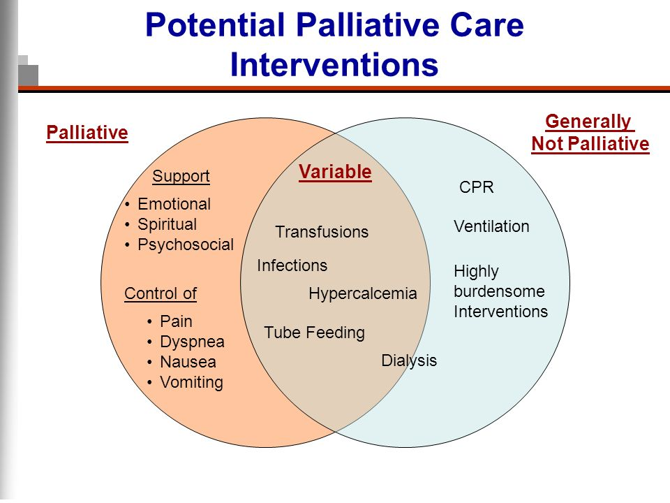 Potential Palliative Care Interventions Control of Pain Dyspnea Nausea Vomiting Support Emotional Spiritual Psychosocial CPR Ventilation Highly burden