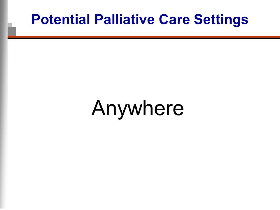 Potential Palliative Care Settings Anywhere