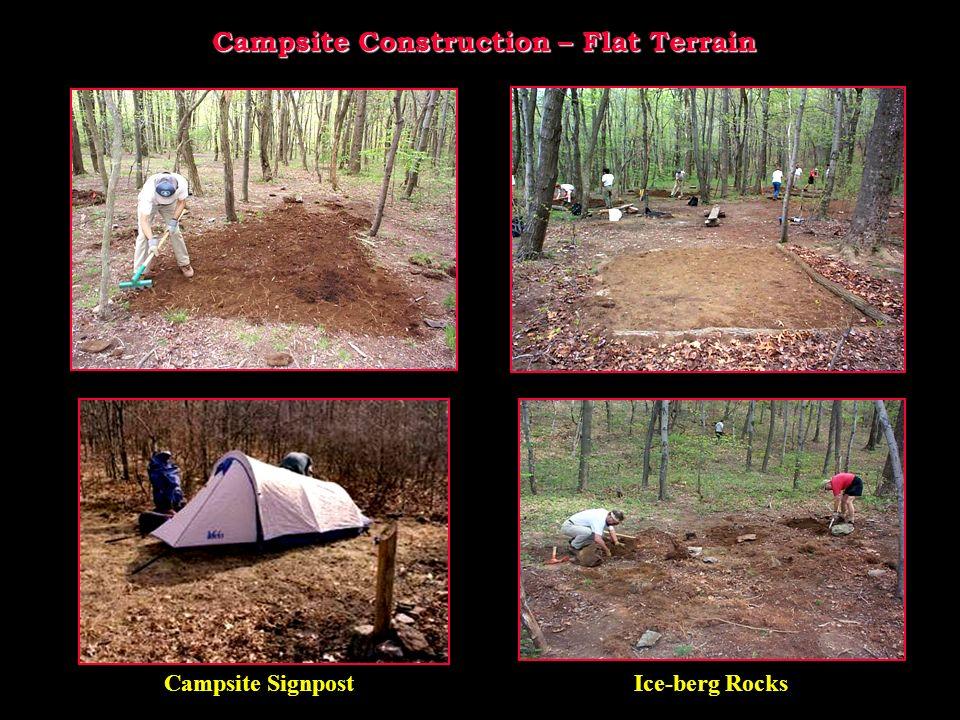 Campsite Construction – Flat Terrain Campsite SignpostIce-berg Rocks