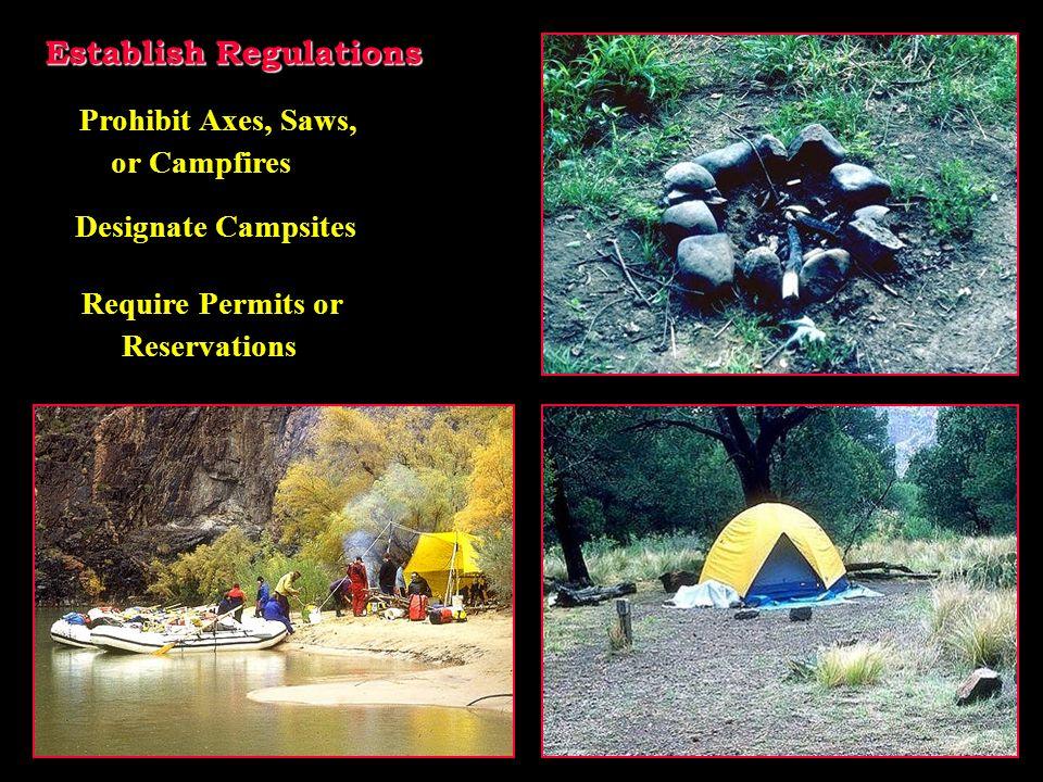 Establish Regulations Prohibit Axes, Saws, or Campfires Designate Campsites Require Permits or Reservations