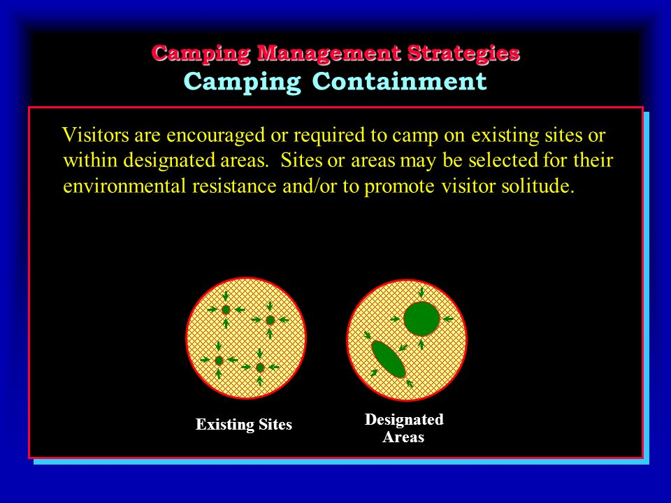 Camping Management Strategies Camping Management Strategies Camping Containment Visitors are encouraged or required to camp on existing sites or within designated areas.
