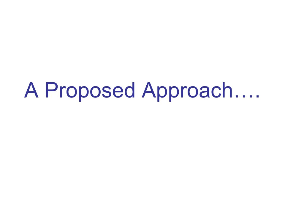 A Proposed Approach….