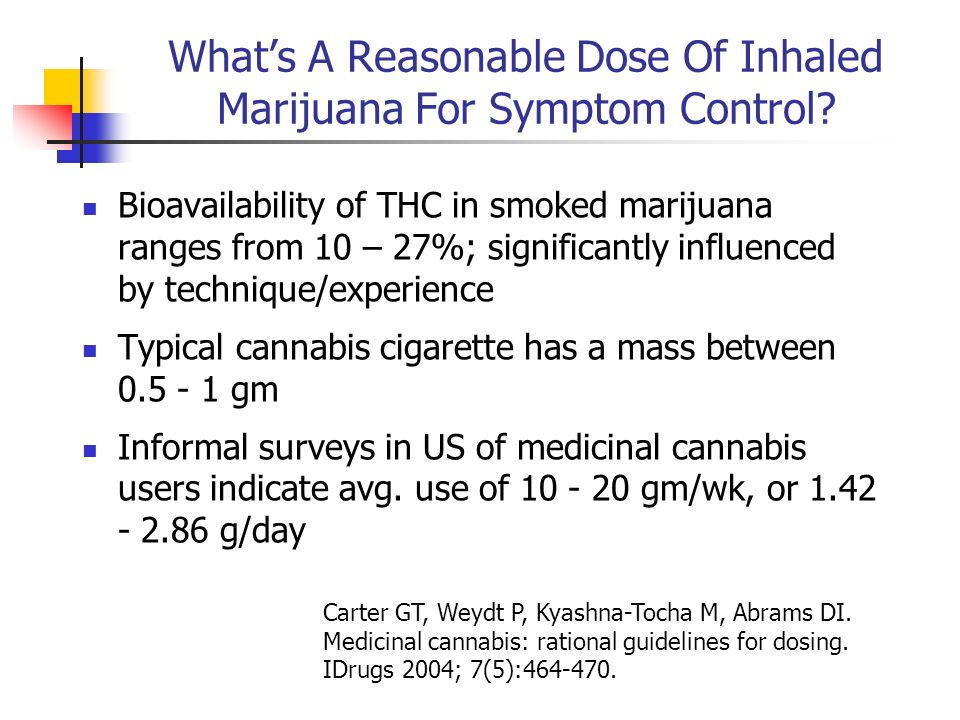 Whats A Reasonable Dose Of Inhaled Marijuana For Symptom Control? Bioavailability of THC in smoked marijuana ranges from 10 – 27%; significantly influ