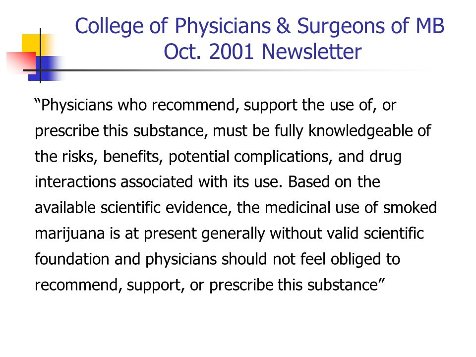 College of Physicians & Surgeons of MB Oct. 2001 Newsletter Physicians who recommend, support the use of, or prescribe this substance, must be fully k