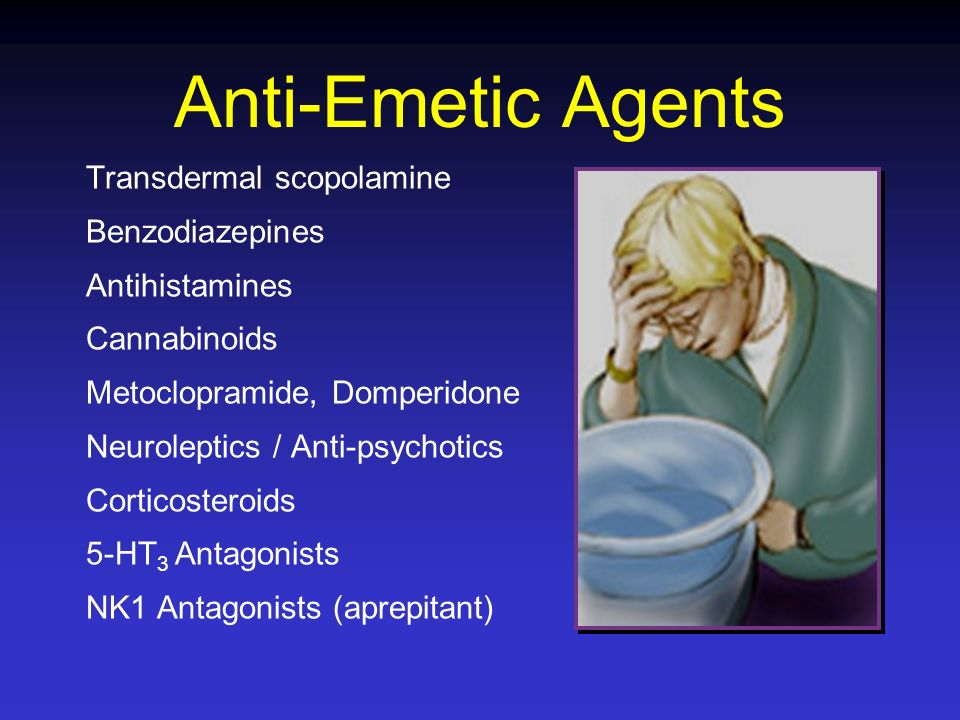 Anti-Emetic Agents Transdermal scopolamine Benzodiazepines Antihistamines Cannabinoids Metoclopramide, Domperidone Neuroleptics / Anti-psychotics Cort