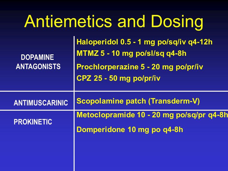 DOPAMINE ANTAGONISTS ANTIMUSCARINIC PROKINETIC Haloperidol 0.5 - 1 mg po/sq/iv q4-12h MTMZ 5 - 10 mg po/sl/sq q4-8h Prochlorperazine 5 - 20 mg po/pr/i