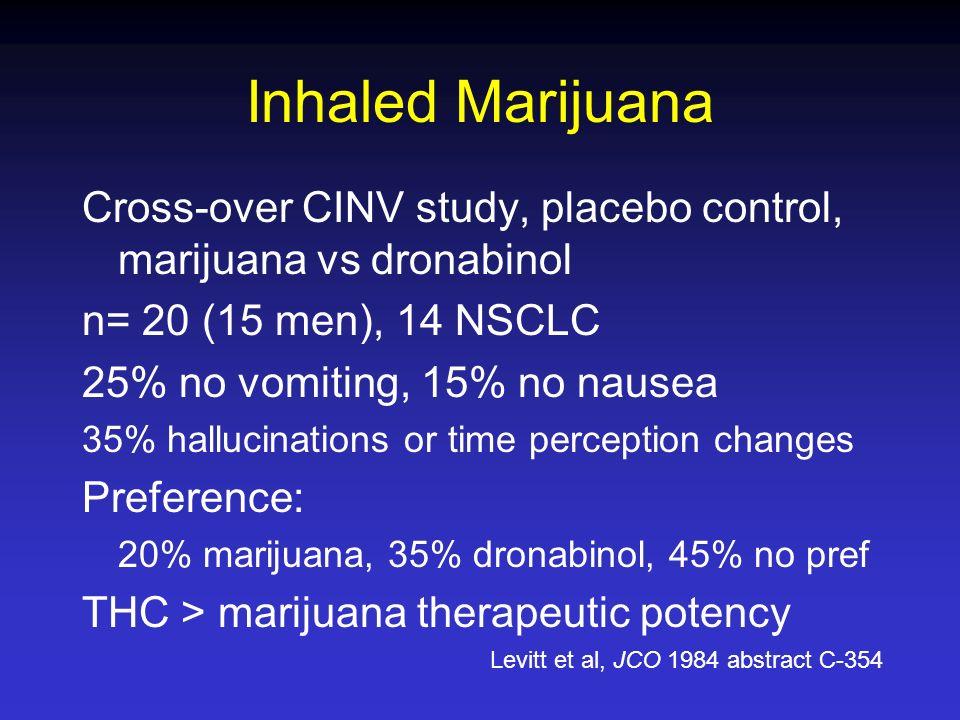 Inhaled Marijuana Cross-over CINV study, placebo control, marijuana vs dronabinol n= 20 (15 men), 14 NSCLC 25% no vomiting, 15% no nausea 35% hallucin