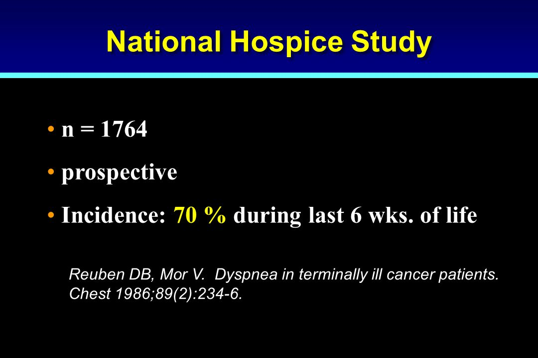 National Hospice Study n = 1764 prospective Incidence: 70 % during last 6 wks. of life Reuben DB, Mor V. Dyspnea in terminally ill cancer patients. Ch