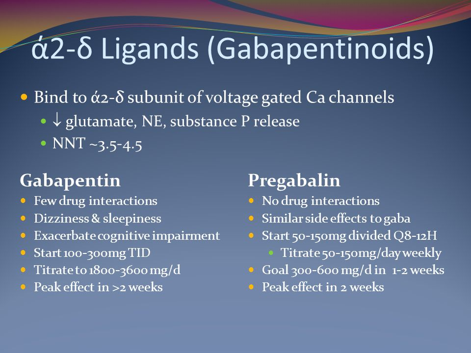 ά2-δ Ligands (Gabapentinoids) Gabapentin Few drug interactions Dizziness & sleepiness Exacerbate cognitive impairment Start 100-300mg TID Titrate to 1800-3600 mg/d Peak effect in >2 weeks Pregabalin No drug interactions Similar side effects to gaba Start 50-150mg divided Q8-12H Titrate 50-150mg/day weekly Goal 300-600 mg/d in 1-2 weeks Peak effect in 2 weeks Bind to ά2-δ subunit of voltage gated Ca channels glutamate, NE, substance P release NNT ~3.5-4.5