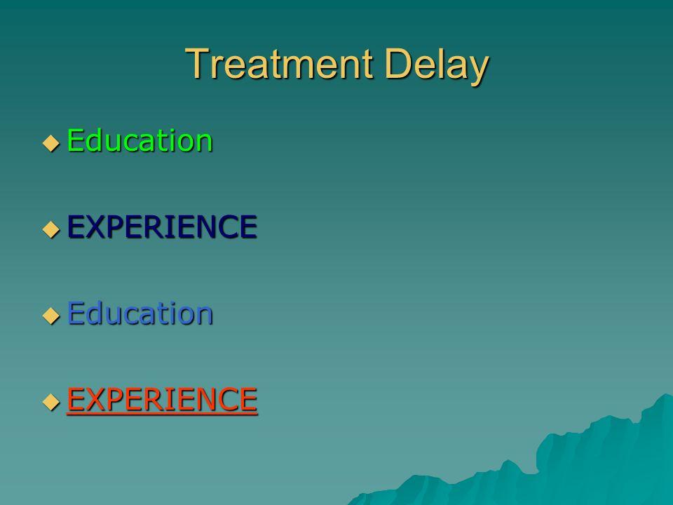 Treatment Delay Education Education EXPERIENCE EXPERIENCE Education Education EXPERIENCE EXPERIENCE