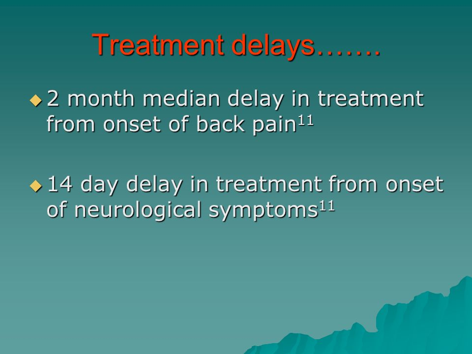 Treatment delays……. 2 month median delay in treatment from onset of back pain 11 2 month median delay in treatment from onset of back pain 11 14 day d
