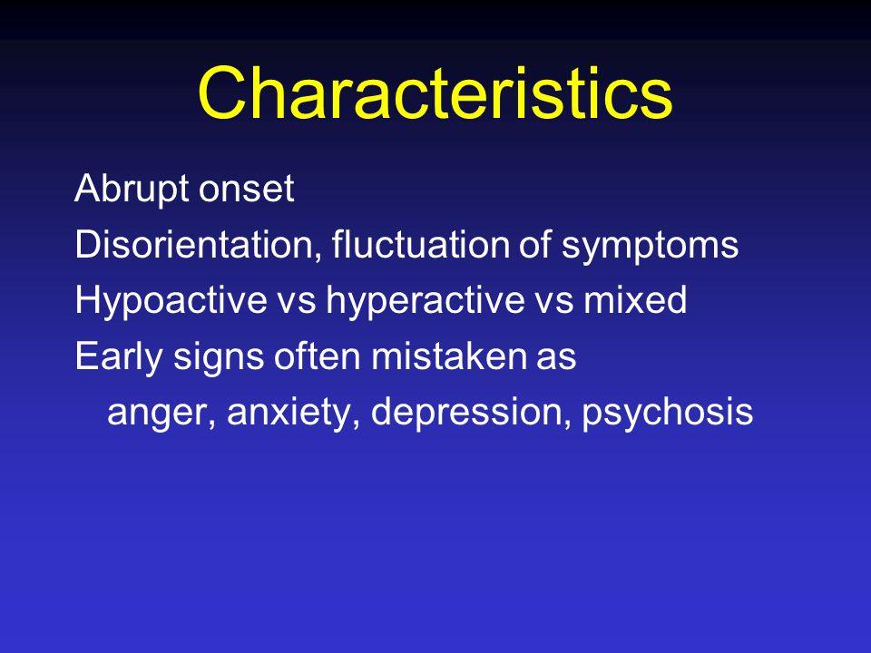 Drug Causes Chemotherapy: MTX, 5FU, VCR/VBL, Bleo, Plat, IL-2 Steroids Opioids BZD, phenothiazines Anti-cholinergics (Gravol, Elavil) Anti-virals