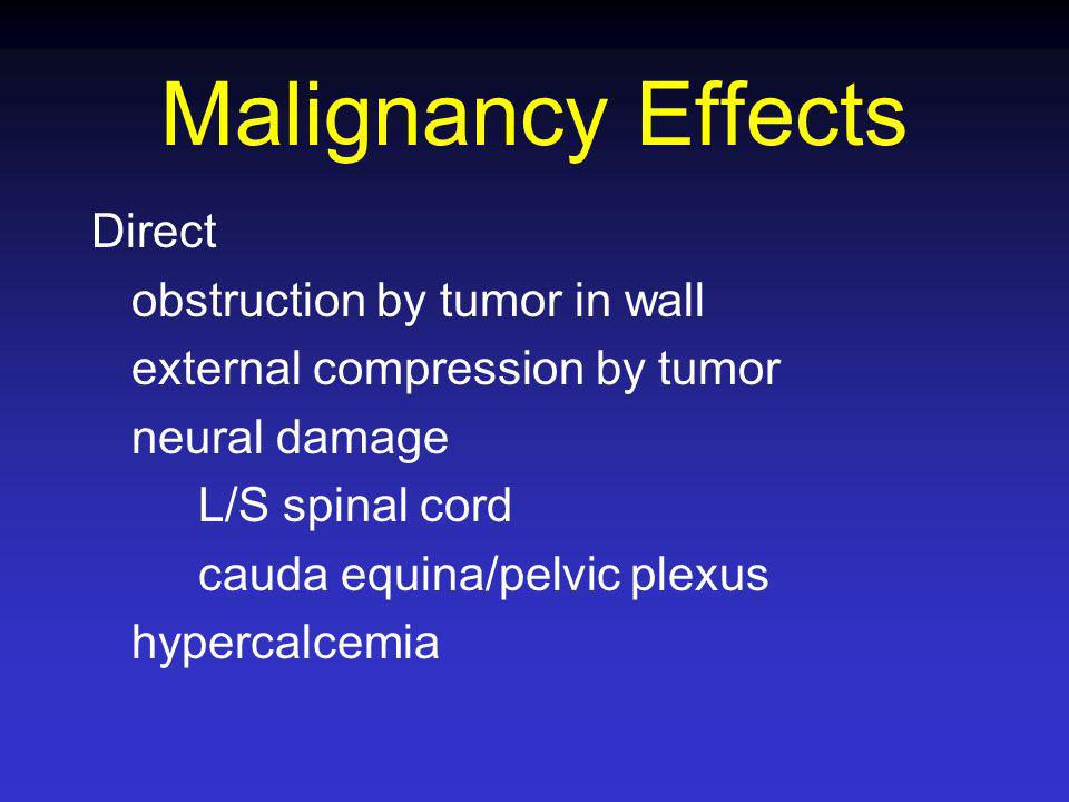 Malignancy Effects Direct obstruction by tumor in wall external compression by tumor neural damage L/S spinal cord cauda equina/pelvic plexus hypercal