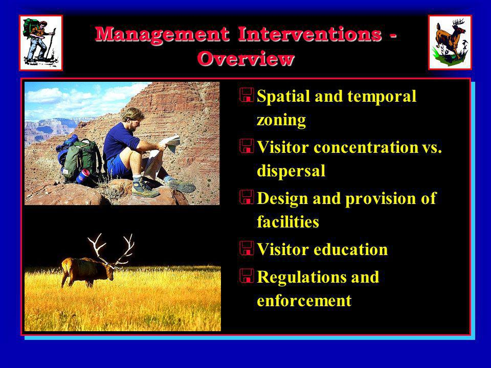 Management Interventions - Overview < Spatial and temporal zoning < Visitor concentration vs.