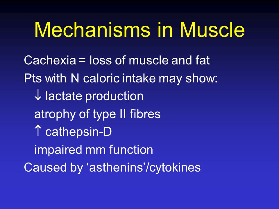 Mechanisms in Muscle Cachexia = loss of muscle and fat Pts with N caloric intake may show: lactate production atrophy of type II fibres cathepsin-D im