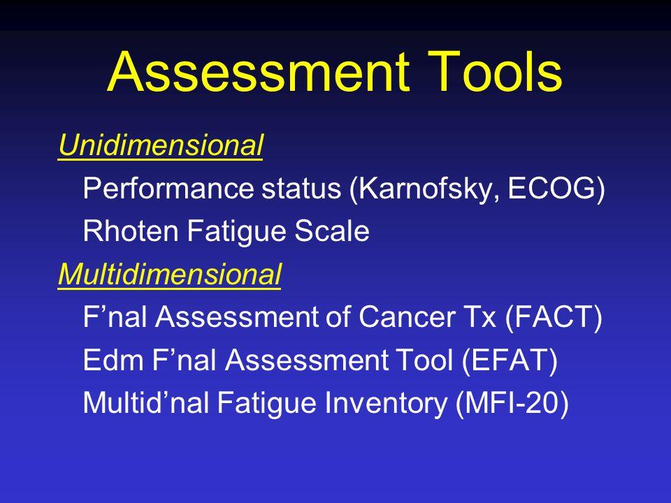Assessment Tools Unidimensional Performance status (Karnofsky, ECOG) Rhoten Fatigue Scale Multidimensional Fnal Assessment of Cancer Tx (FACT) Edm Fna
